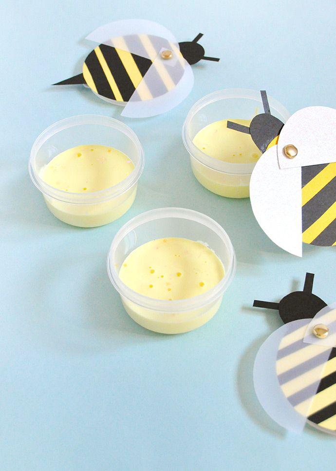 Cách làm slime từ keo mod podge và hộp đựng hình chú ong