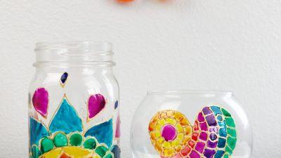 Trang trí ly thủy tinh từ màu Pebeo vitrea
