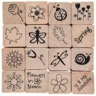 stamp, stamp in dấu, dấu in, dấu in hoa văn, dấu in giấy, con dấu in, dấu in cao su, dấu in gỗ, Bộ 16 dấu in mùa xuân