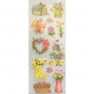 Sticker kim tuyến mẫu vườn hoa mùa xuân