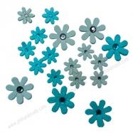 Hoa trang trí kim tuyến xanh và xám
