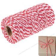 Dây gói quà 2 màu đỏ trắng cuộn 91m