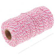 Dây gói quà 2 màu hồng trắng cuộn 91m