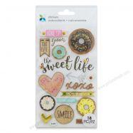 sticker, hình dán, trang trí scrapbook, giấy làm scrapbook, giấy chipboard, Sticker Mẫu Donuts