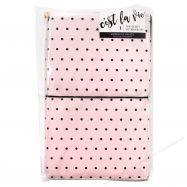 Sổ planner bìa da màu hồng chấm bi đen - 5.75