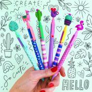 Bút bi in họa tiết với toppers biểu tượng
