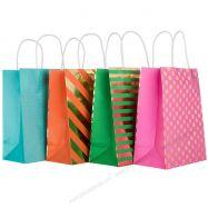 Túi giấy đính foil họa tiết tròn, sọc size trung