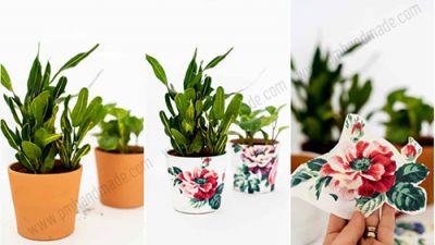 Decoupage chậu hoa cũ bằng khăn ăn